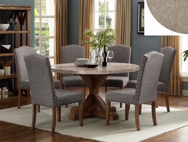 1211t 54 5 Pc Vespa Brown Finish Wood Round Marble Top Dining Table Set Round Marble Dining Table Marble Top Dining Table Dining Table Marble