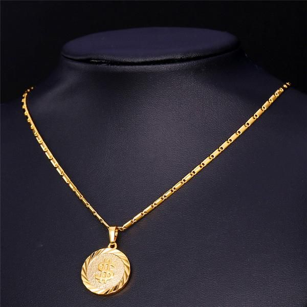 Dollar Necklace Women Men 18k Real Gold Platinum Plated Round Coin Necklaces Pendants Silver Jewelry Fashion Coin Necklace Real Gold Jewelry