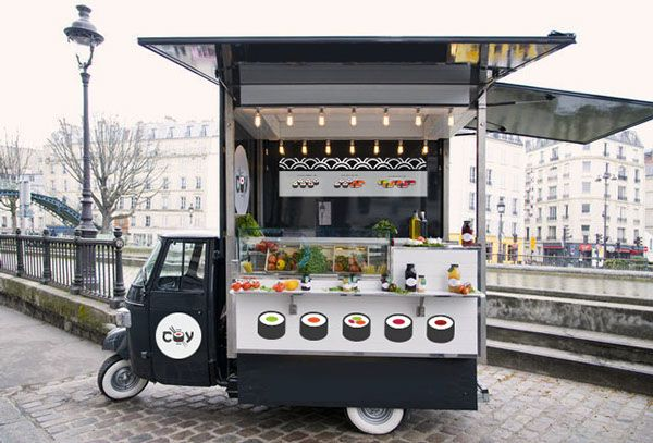 Compact spaces require simple signage, like this sushi food truck! At eSigns.com, you can order custom sizes for your signs- it's so easy!