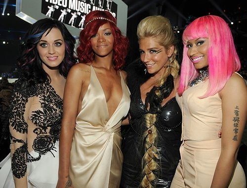 Katy Perry Rihanna Ke$ha Nicki Manja  like my favs..