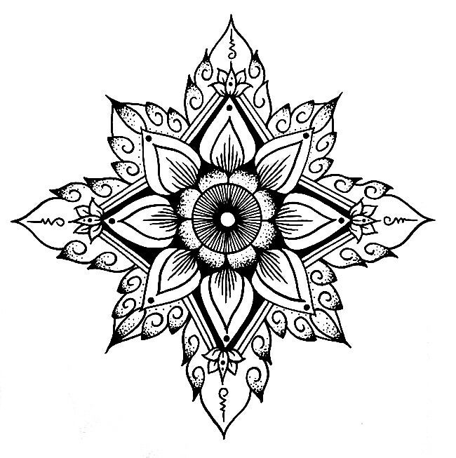 Flower outline, tribal, mandala looking.