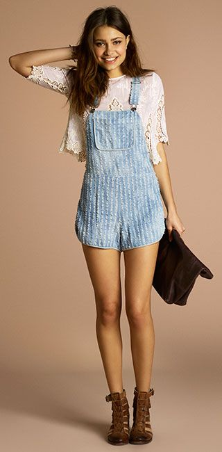 Short overalls with lace underneath  Europe trip outfit idea