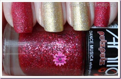 esmalte nacional dance musica anita putz putz efeito pixie 162 e cheguei colorama unhas de natal 2014 #3  #nailpolish #esmaltesempre