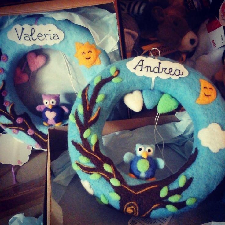 Sweet and soft #handmade garland to celebrate a #babyboy or a #babygirl! #customribbon #needlefelt #handcraft