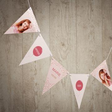 Hippe roze vlaggenlijn met foto | Tadaaz  #communie #lentefeest #vlaggetjes #roze #confetti #foto #vlaggenlijn www.tadaaz.be