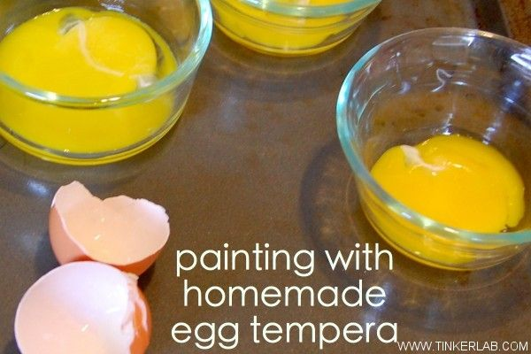 {Make Your Own Egg Tempera Paint} I love the idea of experimenting and making something you usually buy. Too cool.