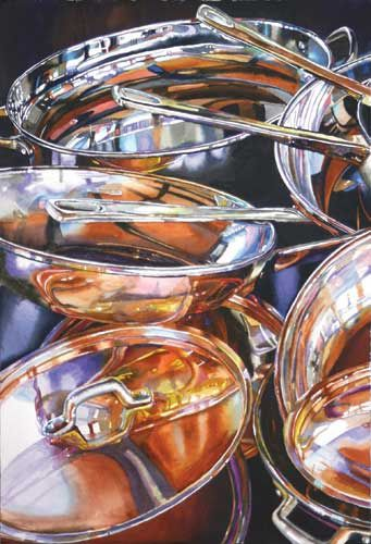 Copper Pots Reflected #10, Transparent Watercolor Society of America