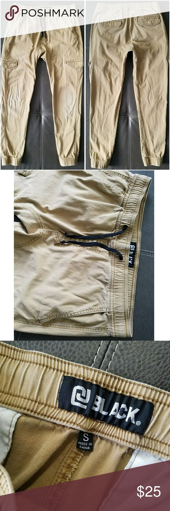 MEN'S KHAKI JOGGER PANTS BLACK BRAND MENS SIZE SMALL KHAKI JOGGER PANTS DRAWSTRING AROUND WAIST GUC •SLIGHTLY FADED AROUND KNEES black Pants Sweatpants & Joggers