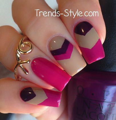 pink & purple chevron nails