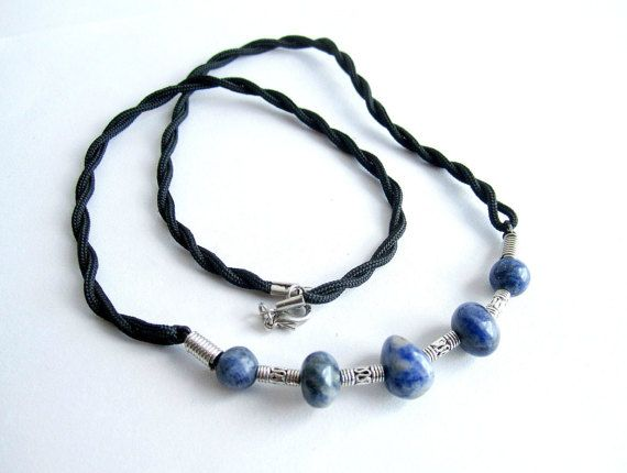 Mens surfer necklace gemstone mens beaded by Bravemenjewelry