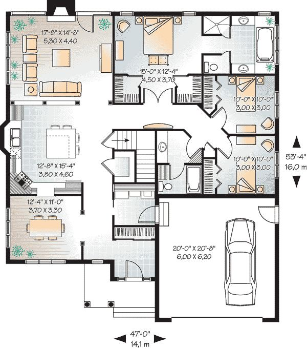 25 best bungalow house plans ideas on pinterest for Plan bungalow 1 chambre