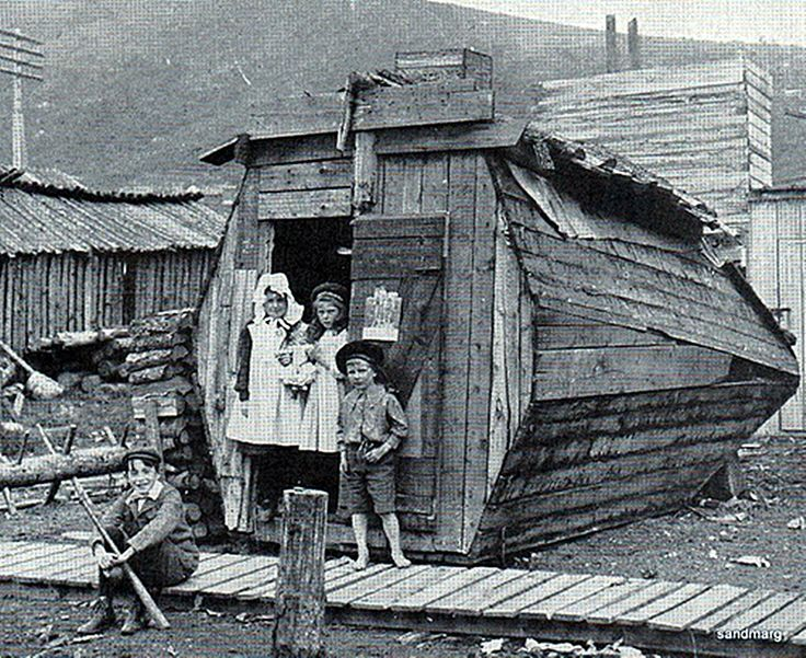 Goldrush Hut Dawson City 1898-1899 by sandmarg.etsy on Flickr. Photograph by Burton Holmes from Ewing Galloway of a hut built in Dawson City during the gold rush of 1898-99