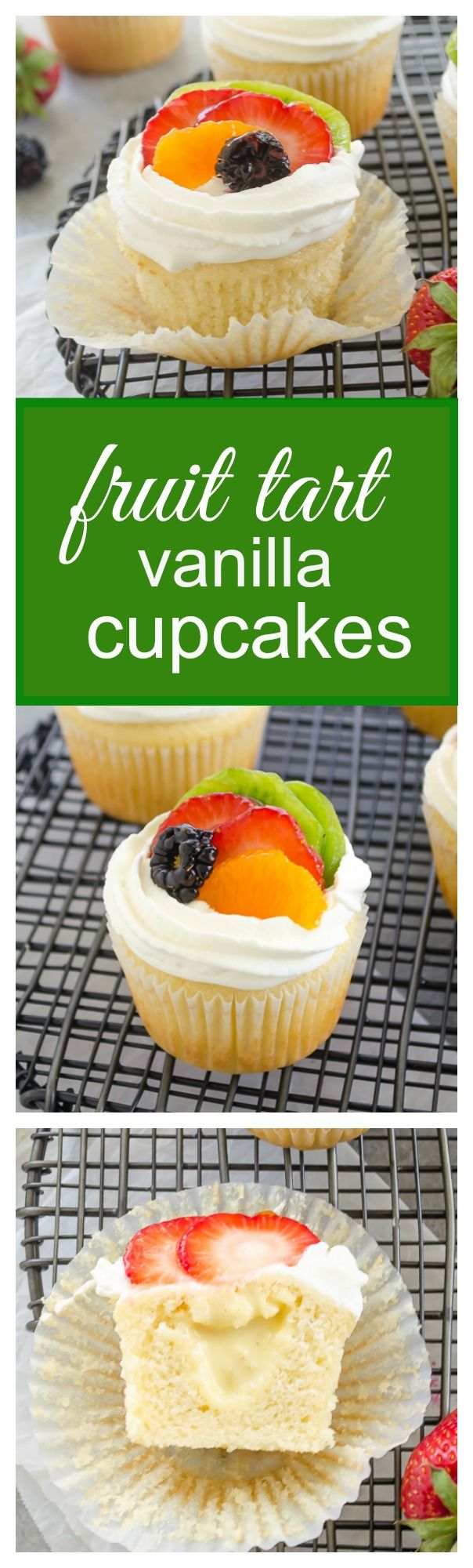 Fruit Tart Vanilla Cupcakes are light vanilla cupcakes filled with pastry cream and topped with fresh fruit and whipped cream. They're like a fresh fruit tart in cupcake form! @FlavortheMoment #cupcakes #fruit #tart #pastrycream #dessert #cake