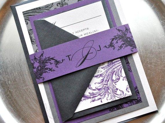 Carnet d'inspiration mariage Mademoiselle Cereza mariage violet parme argent gris idee faire part volutes