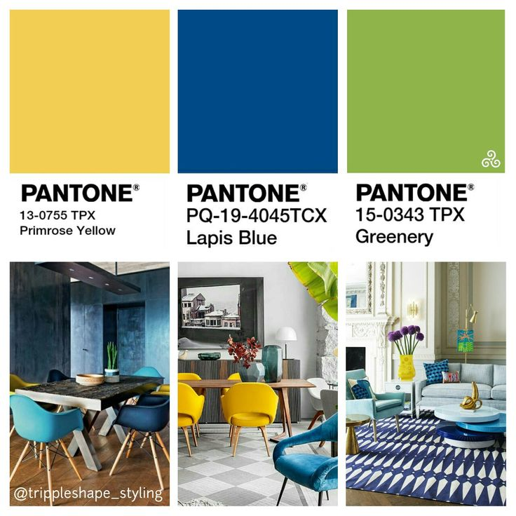 Pantone colors 2017 Lapis Blue & Greenery With a touch of Primrose yellow for that sunny sparkle Dining Room 2017 Livingroom 2017. Color inspiration.