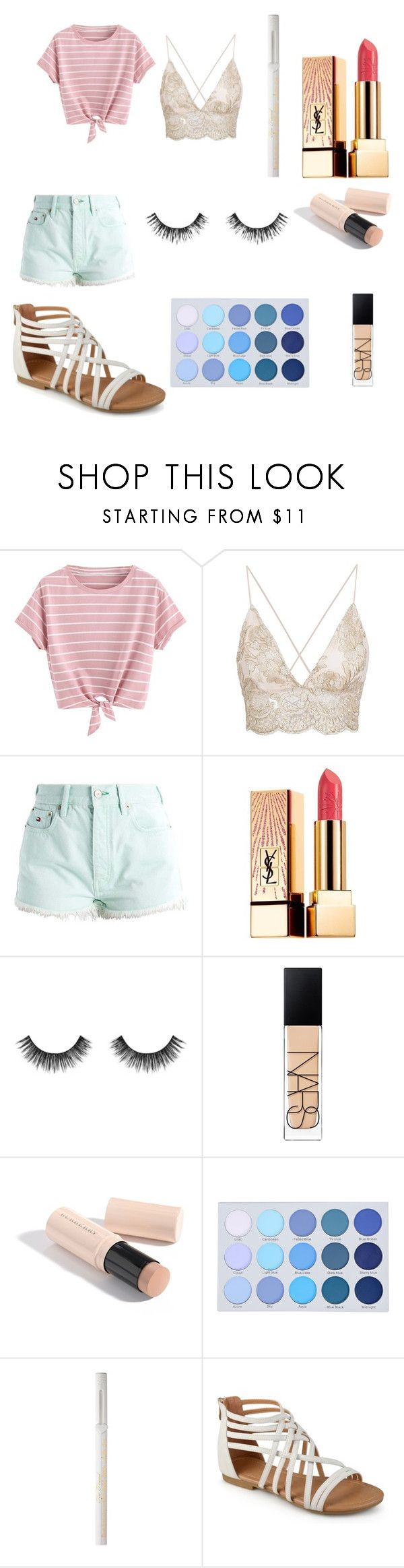 """Pastel summer"" by justaailurophile ❤ liked on Polyvore featuring Hilfiger Denim, Yves Saint Laurent, Velour Lashes, NARS Cosmetics, Burberry and Too Faced Cosmetics"