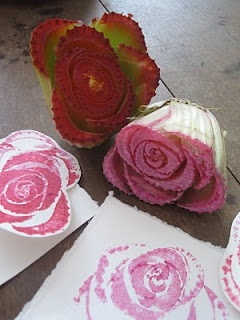 I've done botanical printing with leaves, fruits and vegetables but I've never used celery. Cut a few inches up from the root end and used as stamps in pink and red stamp pads, it creates beautiful roses.