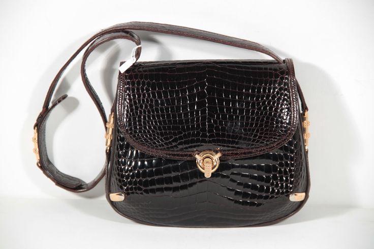 OMG!!! - GUCCI Italian VINTAGE Brown CROCODILE SKIN Tote Handbag SHOULDER BAG