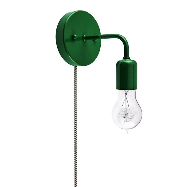 Downtown Minimalist Plug In Sconce, 307 Emerald Green, Victorian 40w Edison