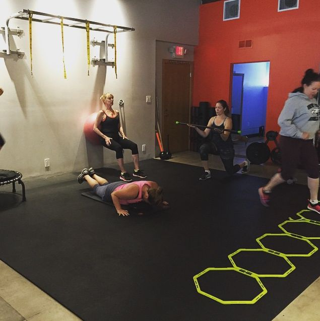 So much goodness (#sweat, #fitness, #focus #fun) all in one shot! #Agility ladder, a #PushUp, Wall/Ball #Squats, #BodyBar #Lunges & you can barely see the @JumpSport #trampoline in the corner!! Mondays 6 & 8am, Wednesdays 6am, Fridays 6 & 8am #FUNctional #FITness small group #exercise with @coachkimmie!!