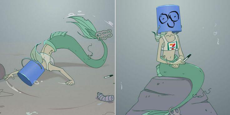 Ces mini bandes dessinées revisitent la Petite Sirène à l'heure de la pollution des océans