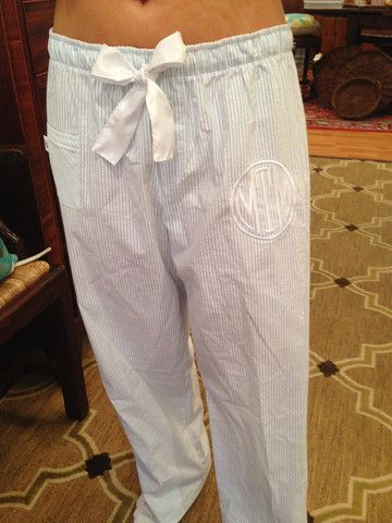 Monogramed Seersucker Sleep Pant - Two Friends