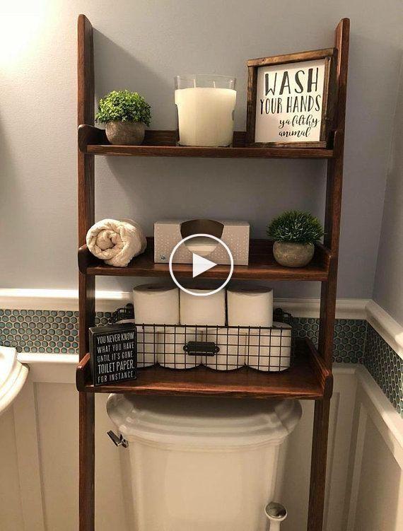 Over The Toilet Leaning Ladder Shelf Made To Order Decor Bathroom Space Saver Bathroom Storage Farmh Ideeen Voor Thuisdecoratie Decoraties Design Badkamer