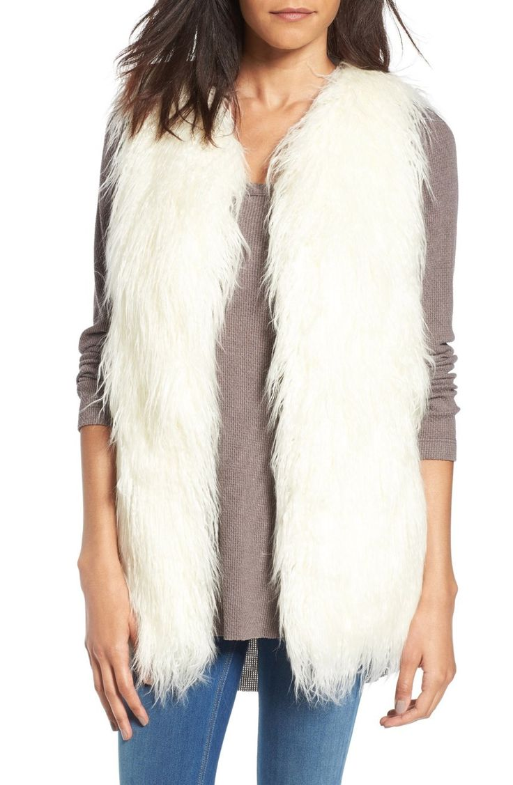 This plush faux-fur vest is perfect for light layering while adding a statement piece to any outfit.