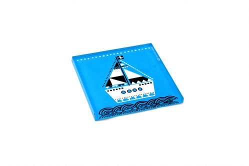 Boat | plexiglass coaster | screenprinted & lazer cutted | designed and made in Greece