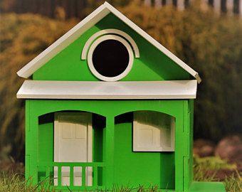 Comedero para pájaros estilo de cabaña aves decorativas casas pájaro hecho a mano exterior pajarera gran pajarera jardín decoración pájaro de madera casas