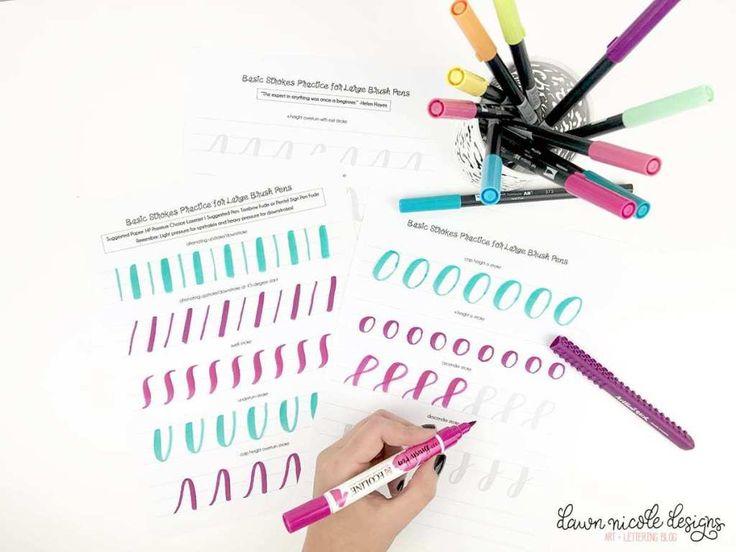 Basic strokes worksheets for large brush pens download