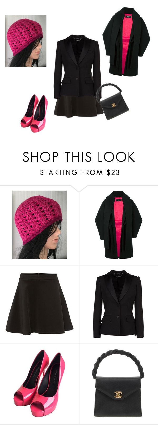"""""""Off to work..."""" by katieness ❤ liked on Polyvore featuring Dsquared2, Silvian Heach, Alexander McQueen, Gianmarco Lorenzi and Chanel"""