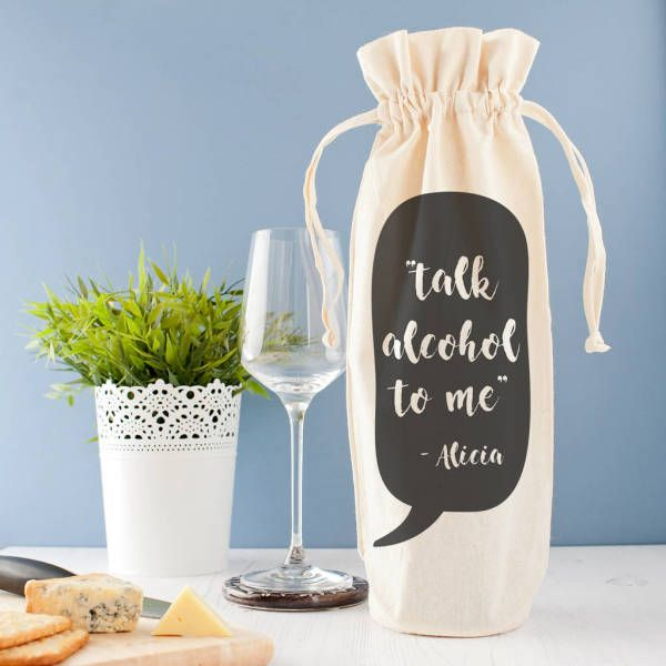 Personalised 'Talk Alcohol To Me' Wine Bag