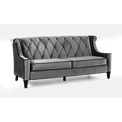 @Overstock.com - Modern Grey Velvet Sofa - Generate a comfortable atmosphere in your home with this modern take on a retro sofa. This grey velvet fabric couch features a button-tufted back with a diamond pattern and espresso wood legs.  http://www.overstock.com/Home-Garden/Modern-Grey-Velvet-Sofa/6629457/product.html?CID=214117 $892.87