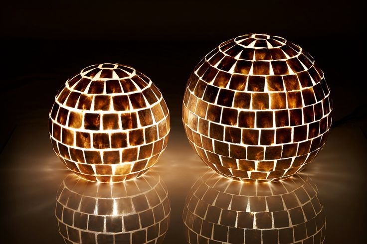 Ultra Chic Gold Square Capiz Globe Lamps by Collectiviste on Etsy