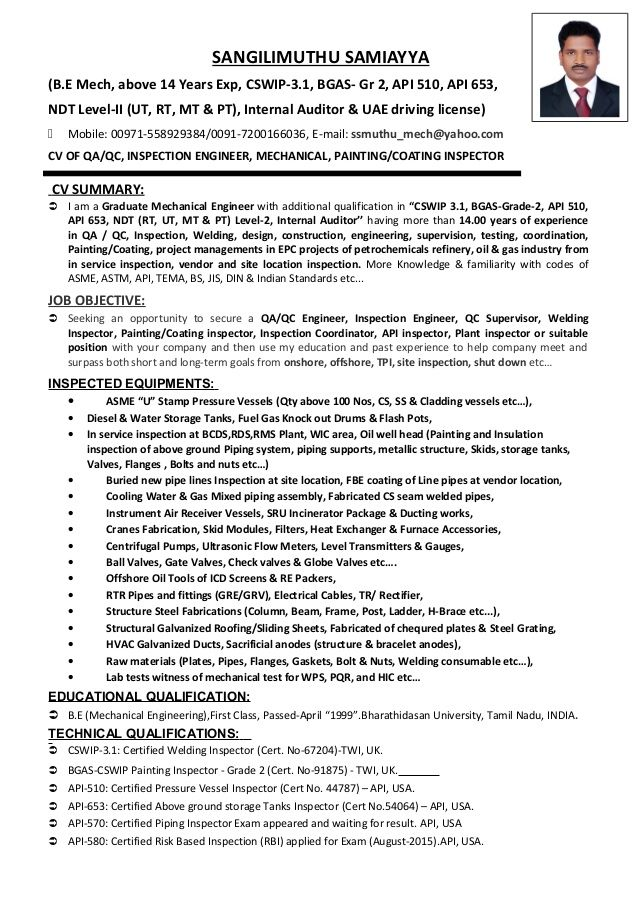 Welding Inspector Resume | RESUMES DESIGN | resume of welding ...