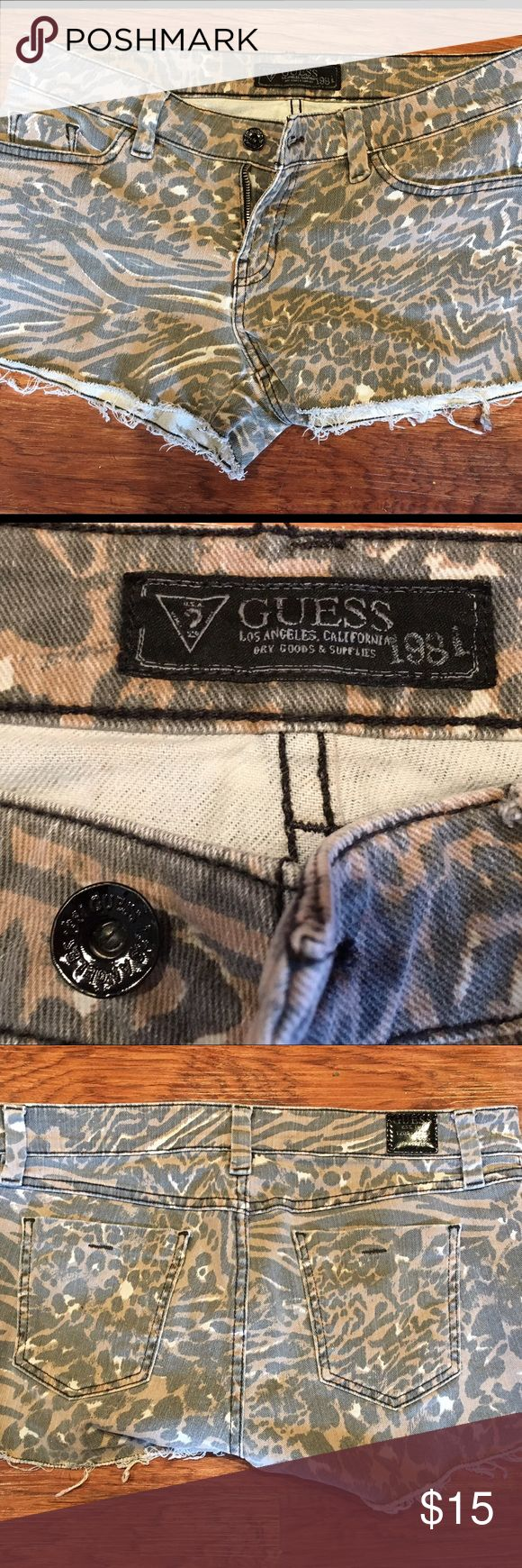 Guess Faded Leopard Cut Off Shorts Super cute, only worn a few times. Guess Shorts Jean Shorts