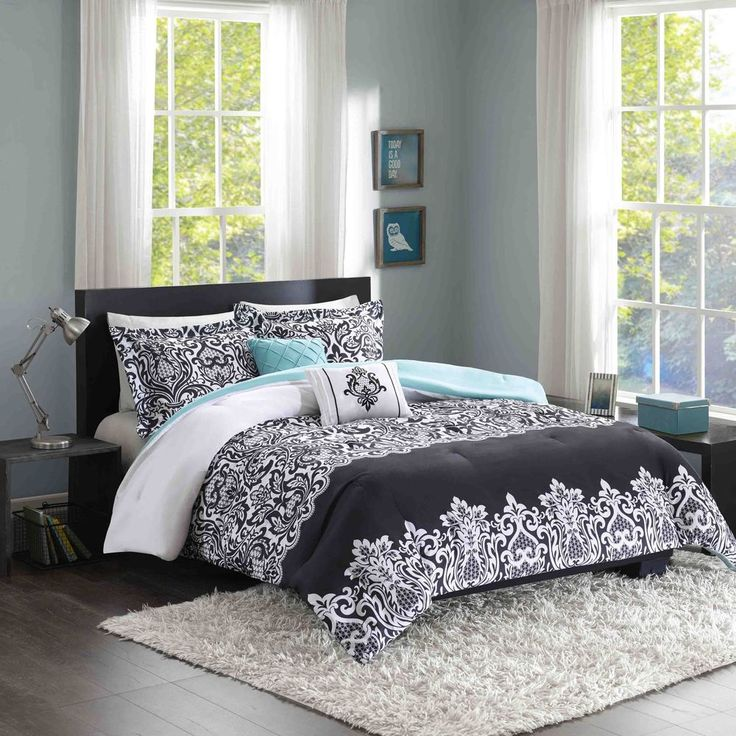 Intelligent Design Hazel Black/ Aqua Comforter Set | Overstock.com Shopping - The Best Deals on Teen Comforter Sets