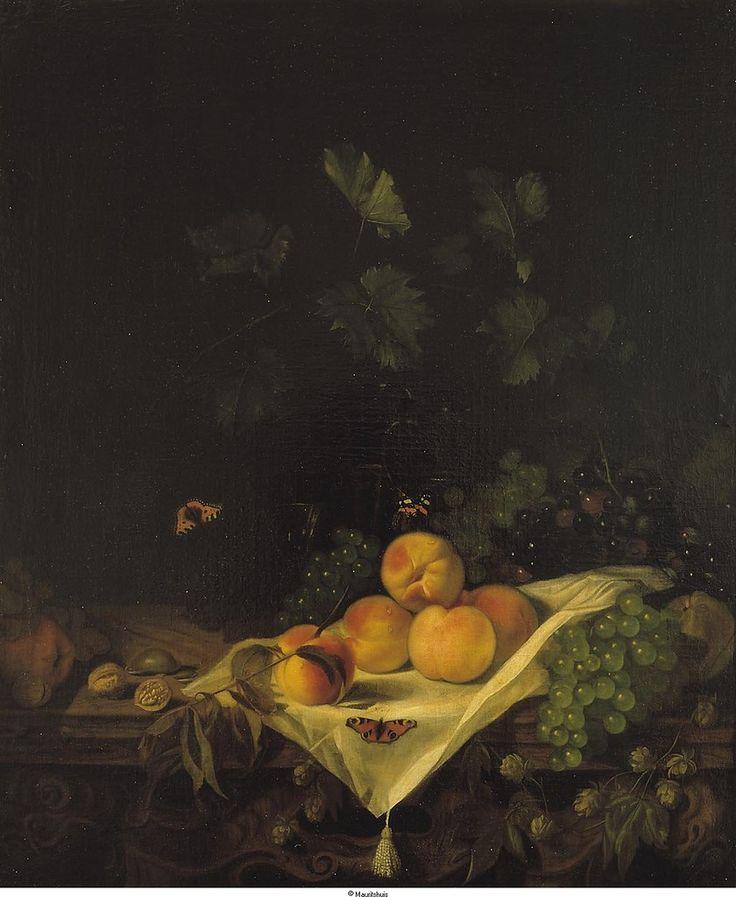 Calraet, Abraham van - Натюрморт с персиками и виноградом, ок. 1680, Маурицхёйс, Гаага