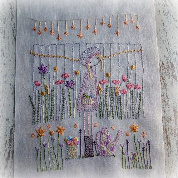 This listing is for a hand embroidery pattern pdf file to stitch the lovely flower gardener in amongst her beautiful flowers. The finished embroidery is about 24cm x 18cm (about 9.25 x 7) It was designed to be framed but would also look beautiful as a centrepiece on a cushion. You can enlarge the pattern or make it smaller by using a photocopier. Included are the pattern the pattern reversed a colour guide and stitching notes There are lots of beginner tutorials and posts about materials…
