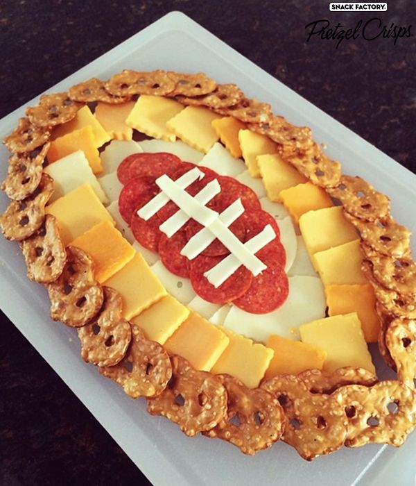 Football Pretzel Crisps Cheese Platter