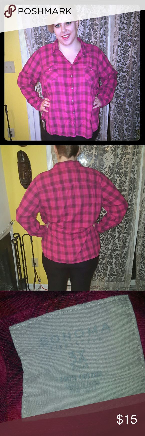 Button down flannel shirt Soft pink flannel shirt. Sorry for the wrinkles. My iron broke! Lol. Make an offer with the blue offer button or use the bundle option for the best price! Sonoma Tops Button Down Shirts