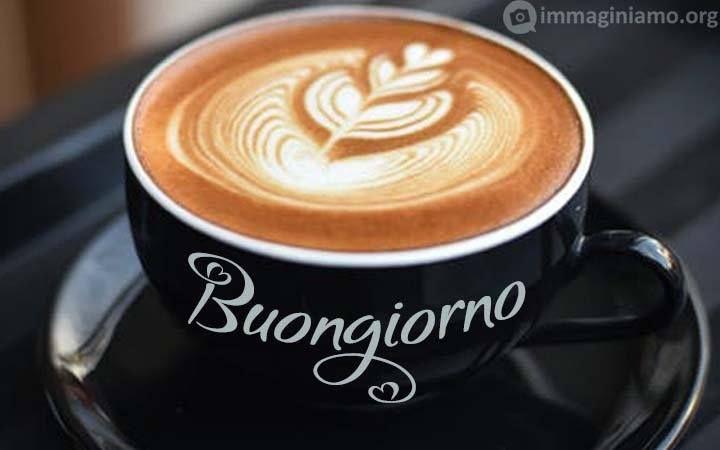 Buongiorno Su Tazza Di Caffècappuccino Caffè Del Mattino