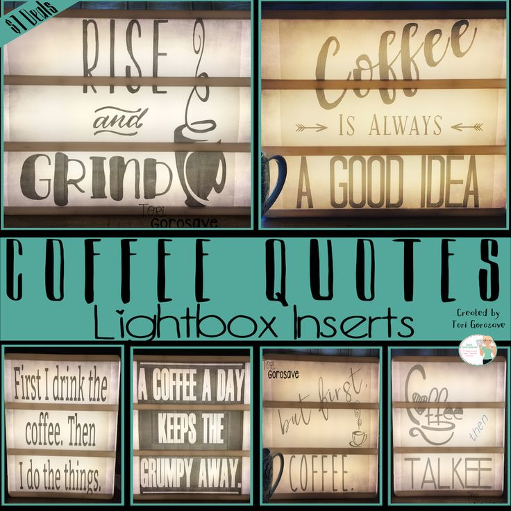 Snag a set of coffee quotes for your Heidi Swapp lightbox! Six fun quotes in awesome layouts will brighten your day. Perfect decoration for the office, classroom, or just around the house.