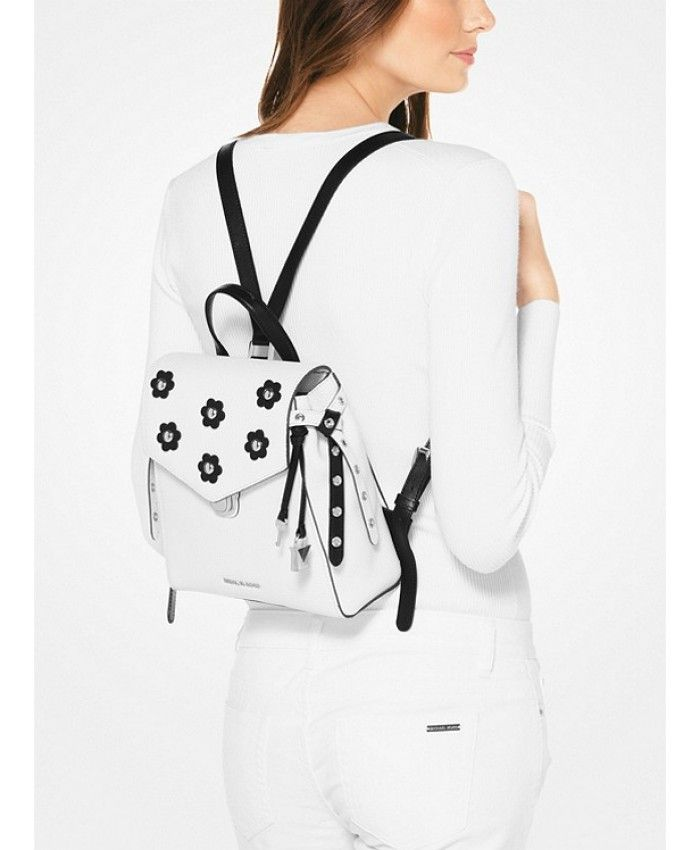 7c3ff5f084b59a Michael Kors Bristol Small Floral Appliqué Leather Backpack - Optic White/ Black - MK1088BG
