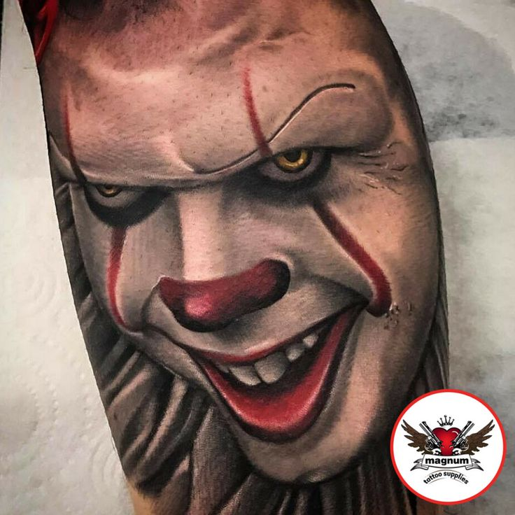 Sick Pennywise tattoo by Mikkel Ostberg, Mint Gun Club Tattoo Parlour  created with #magnumtattoosupplies 💪🏿👏🏿👏🏿