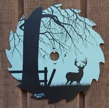 Hand+Painted+Saw+Blades+silhouette | Hand Painted Saw Blade Whitetail Deer Silhouette 6 1/2""