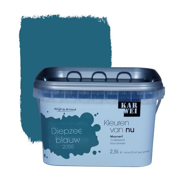 Karwei kleuren van nu muurverf mat diepzeeblauw 2 5 l - Kleur blauwe verf ...