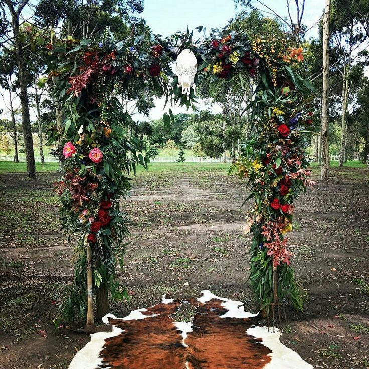 Wild, rustic arbour in a gorgeous outdoor setting. Flowers by @asdaisydoes