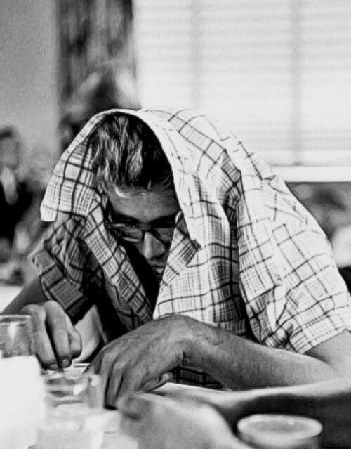james dean playing hide & seek. he always found a way to goof around. reminds me of someone in the morning.
